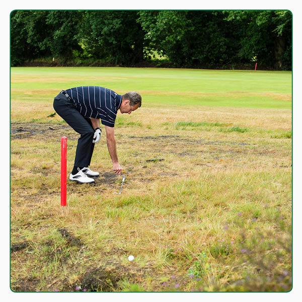 Red stakes Lateral water hazard