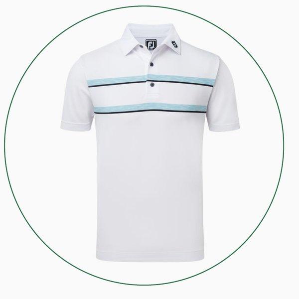 Stretch Pique Double Space Dye Chest Stripe polo