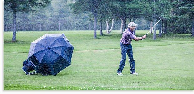 Golfing in the rain