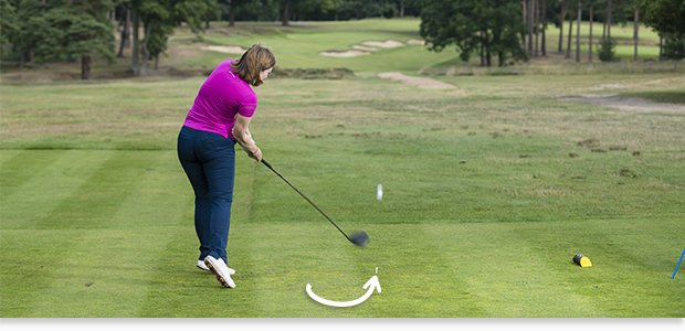 Tip: Hit up on the ball with your driver